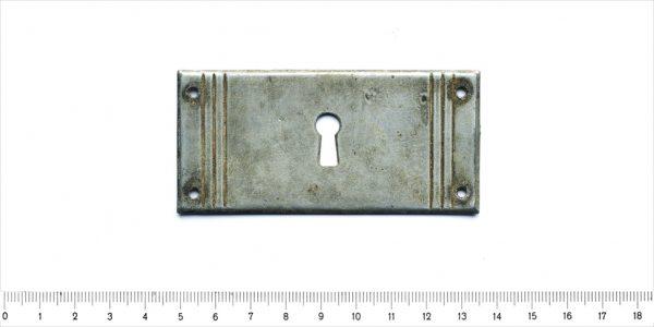 Schlüsselschild Möbel Messing vernickelt silber Beschlag alt 22