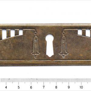 Schlüsselschild Jugendstil Messing Beschlag antik Nr.10