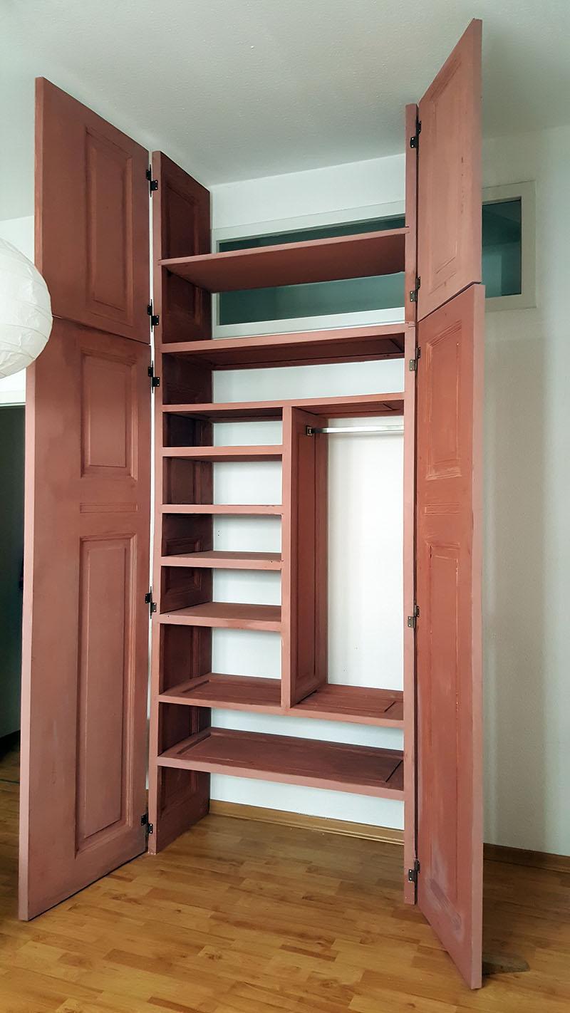 Kleiderschrank DIY in altrosa mit DIY Kreidefarbe