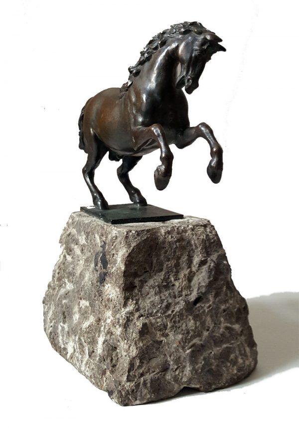 Bronze Pferd Figur Skulptur steigender Hengst 25 x 20 x 11cm