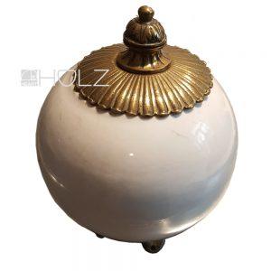 Porzellankugel alt antik Messing Pfosten Zierkugel weiß altweiß
