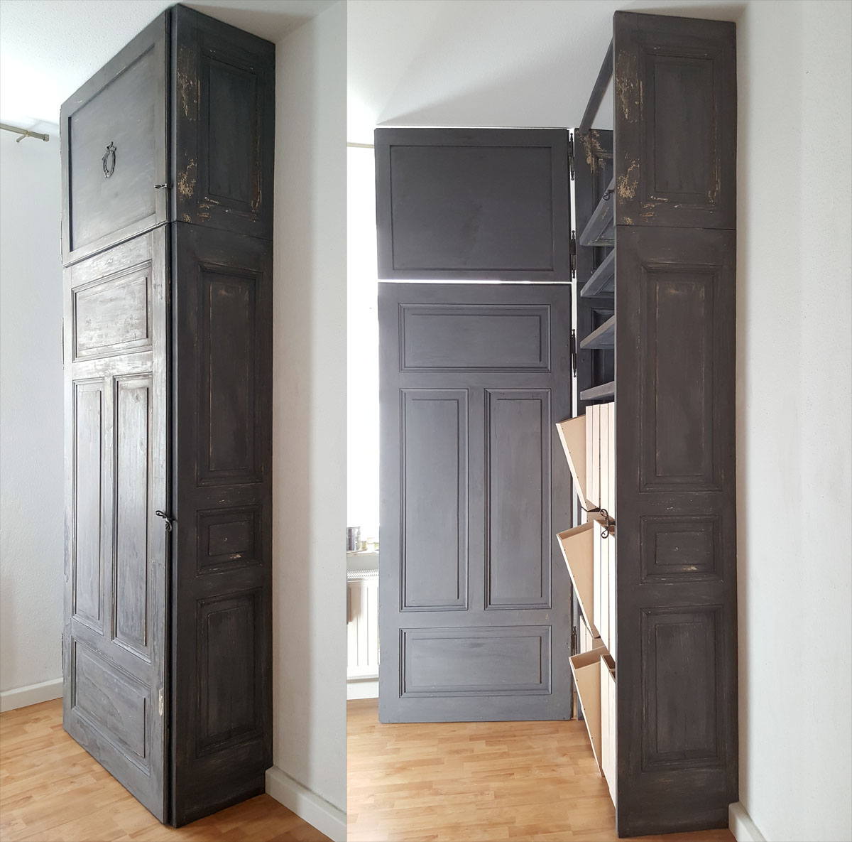 Alte Türen zu einem Magazinschrank umgestalten