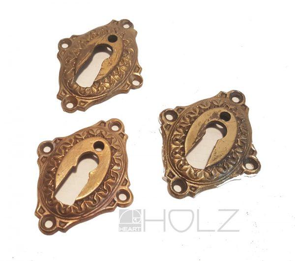 Schlüsselrosette Schlüsselschild Schlossblende Türbeschlag antik alt Messing