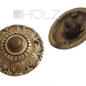 Klingel antik Messing Blütenkranz Patina Haustürklingel Türklingel