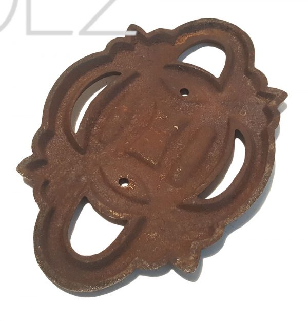 Jugendstil Beschlag oval Chrom auf Gusseisen konvex 165 x 110 mm