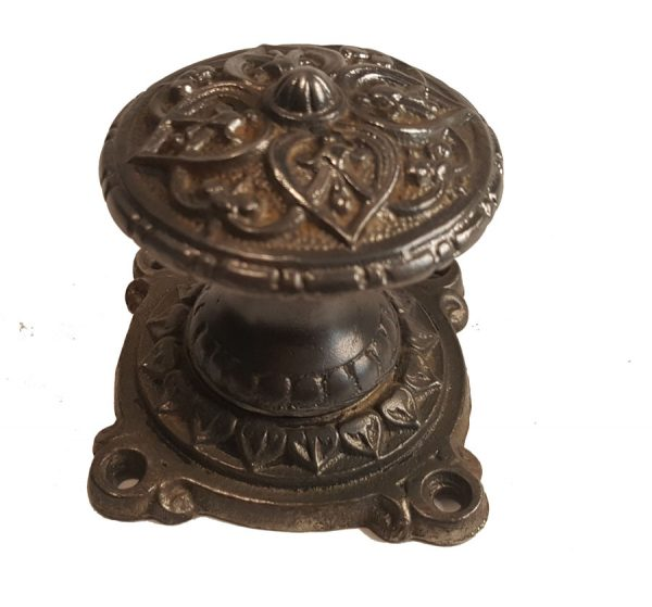 Türknauf antik Guss Türgriff Eisen Gründerzeit reich ornamentiert Türgriff