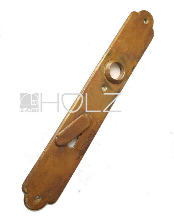 Langschild antik Haustür Türbeschlag alt Messing Türdrücker 19.8 mm