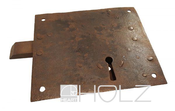 Türriegel antik Eisen Schieberiegel Verriegelung mit Eingericht Halteplatte