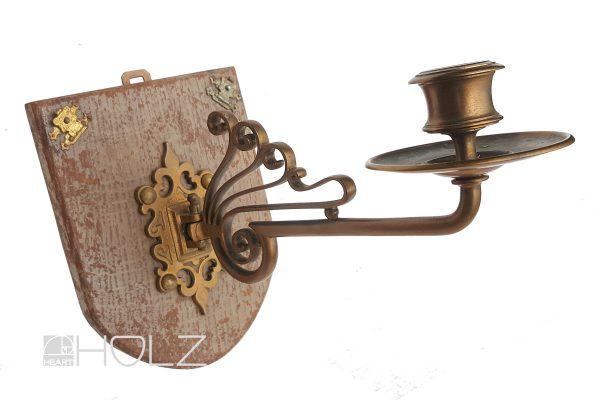 Kerzenhalter antik Jugendstil Messing alt mit Holzplatte
