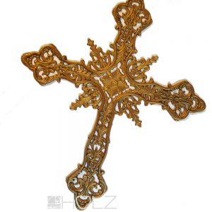 Wandkreuz Kreuz Messing reich ornamentiert Jugendstil