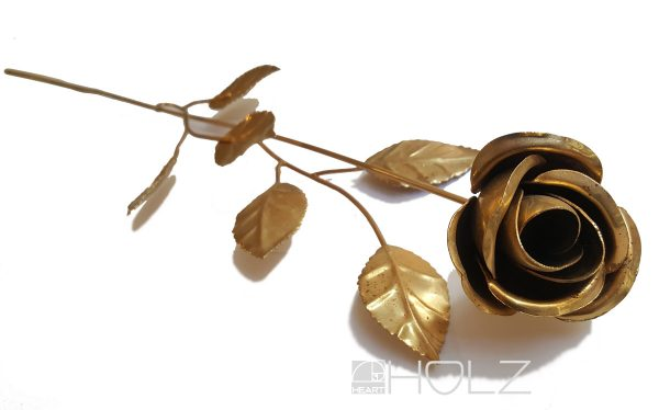 Messingrose Rose golden Metall Rosenblüte 60cm Deko Blume