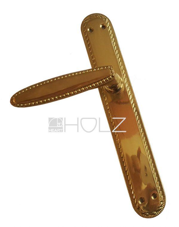 halbe Türdrückergarnitur antik klassizistisch Messing gold Perlenband