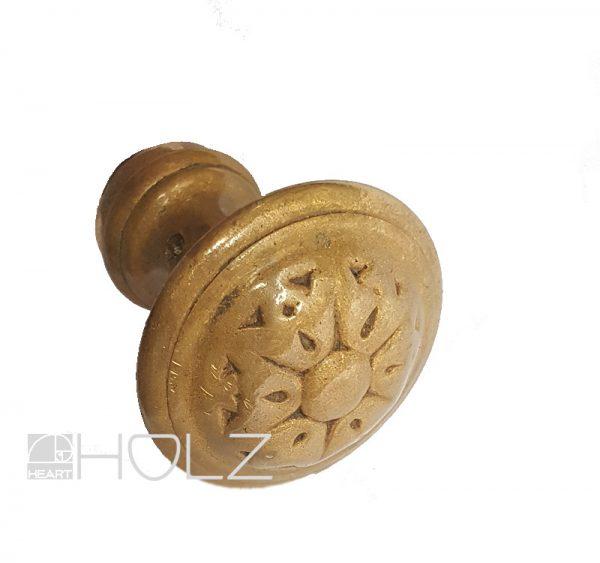 Türknauf antik alt Messing rund Ziehgriff 42 und 16.7 mm