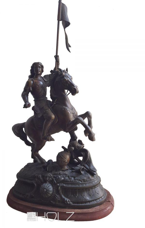 Bronzefigur Jeanne d' Arc Bronze Skulptur Pferd Reiter Au Siege d'Orleans