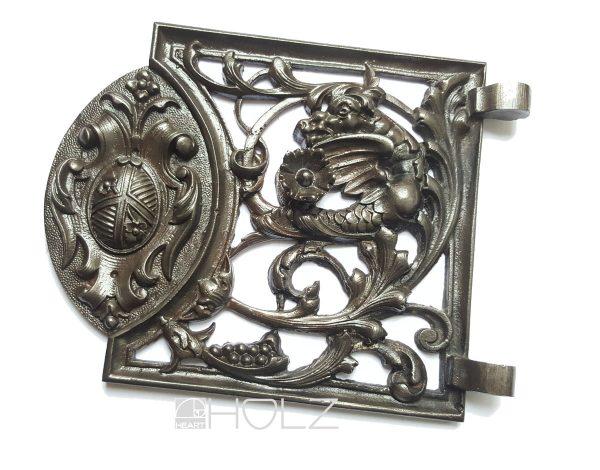 Ofenklappe antik Lüftungsklappe alt Eisenguss mit Drachen 17 x 18 cm