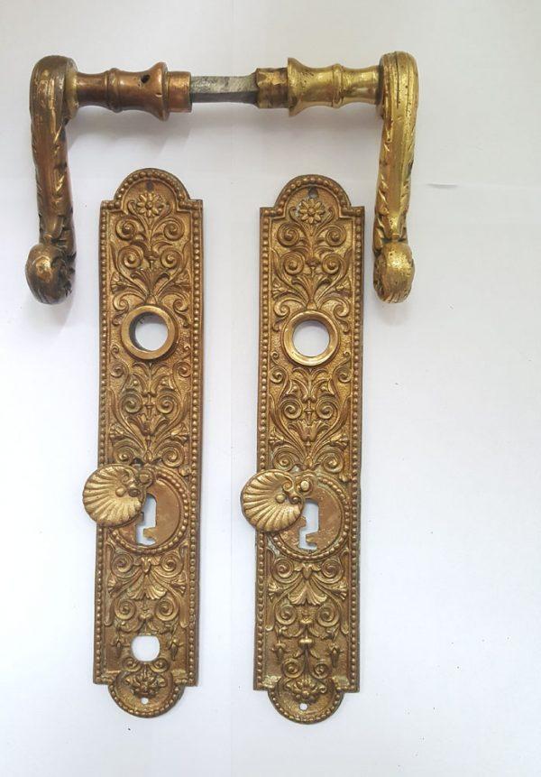 Drückergarnitur alt antik Barock Messing Türklinken 76 mm