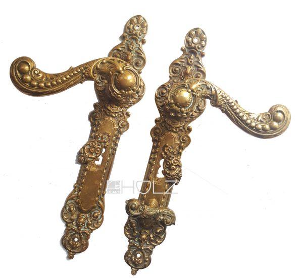 Türdrücker Garnitur antik Türgriffe alt prächtige Türklinken 75 mm
