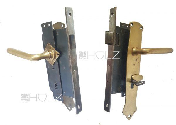 Türschloss antik Jugendstil mit Türdrücker Garnitur Schlüssel 78 mm