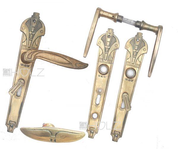 Türdrücker Garnitur Jugendstil antik Art Deco Messing Türklinken 68 mm