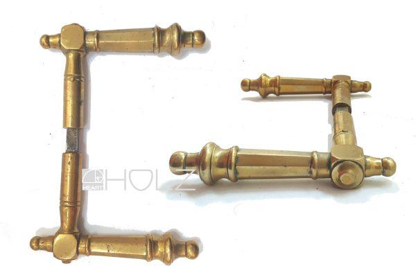 Paar Türdrücker alt Türklinken antik Messing Türgriffe 8er Vierkant