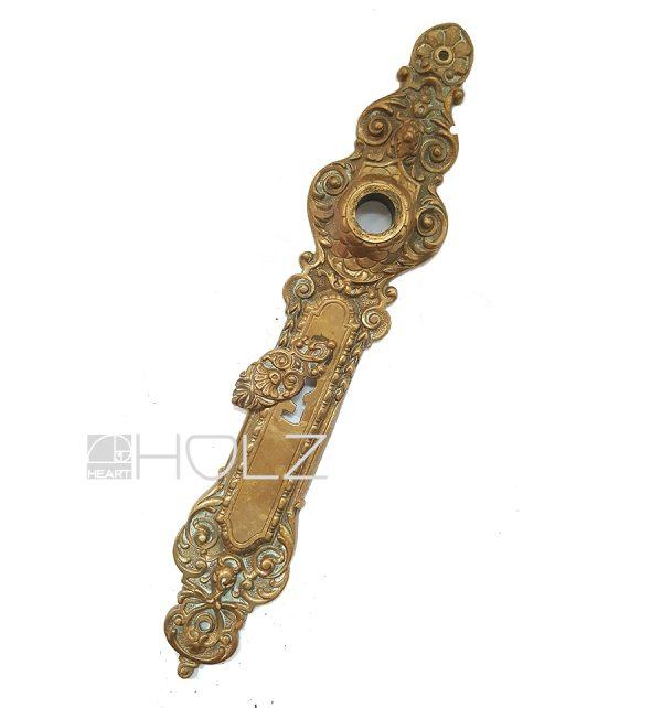 Langschild antik Gründerzeit Drückerschild alt Messing 16.4 mm 78