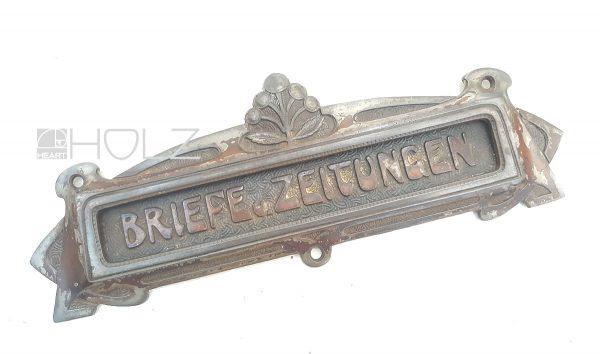 Jugendstil Briefklappe antik Briefschlitz alt Eisenguss Briefeinwurf