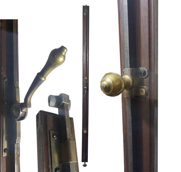 Basküle Schubstangen Verriegelung Fenstergriff antik alt 128 cm