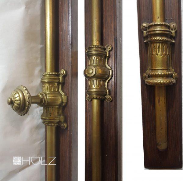 Prächtige Basküle Fenster Verriegelung antik Einreiber alt Messing 203 cm