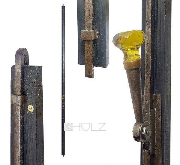 Fenster Basküle antik Jugendstil mit gelbem Stein und Fanghaken 187 cm