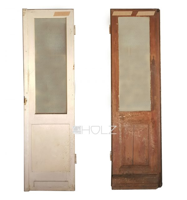 Alte Balkontür alte Tür Flügeltür antik mit Scheibe 218 x 56