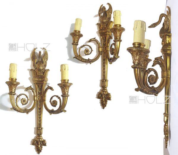 Wandlampe antik Empire Messing Schwan Wandleuchter Lampe