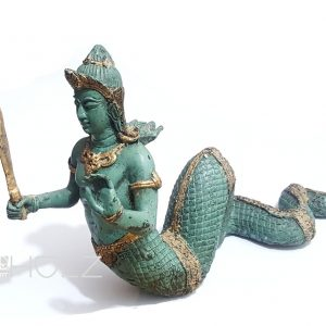 Asia Bronze Naga Gottheit Schlangengott mit Schwert 2180gr.