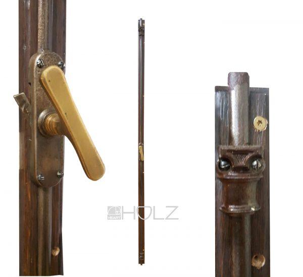 Basküle Fensterverschluss antik Triebstangen alt 150cm mit Einreiber