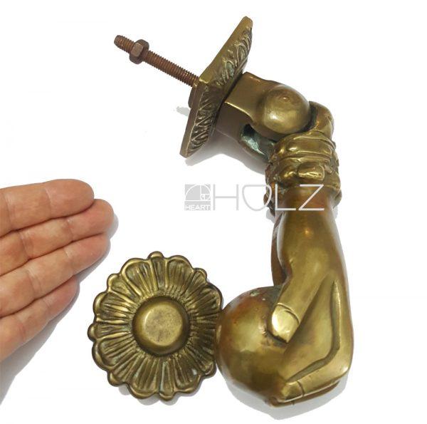 Türklopfer antik Hand Kugel alt Messing schwer