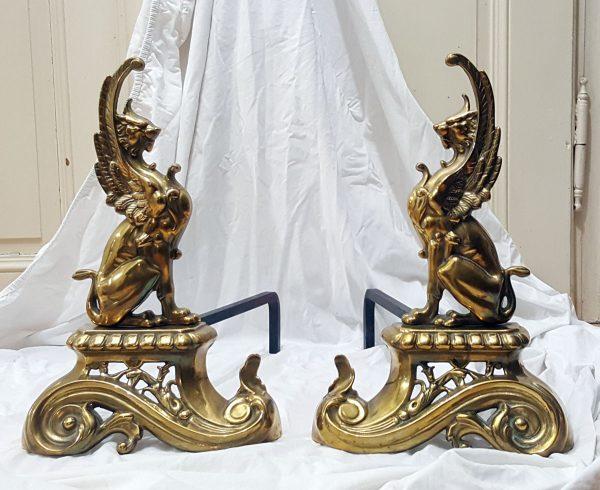 Kaminböcke antik Feuerböcke Greife Messing Paar
