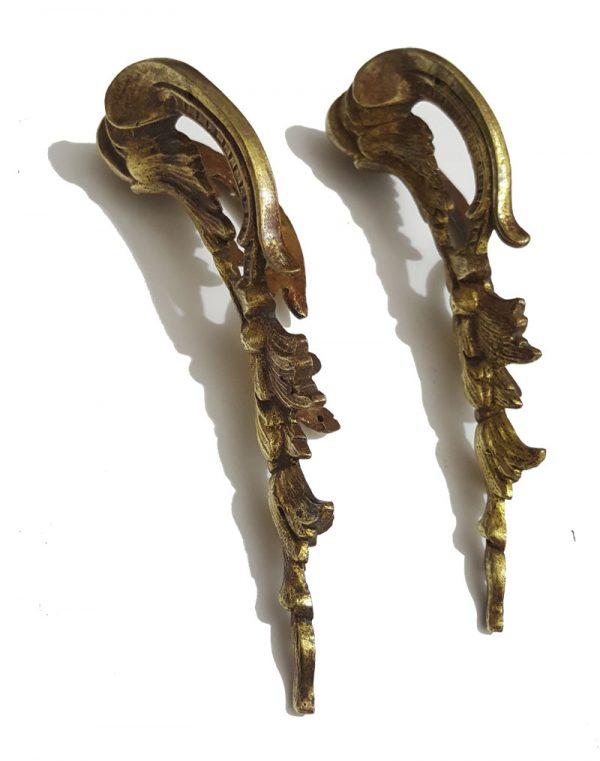 Bronze Möbelbeschlag 2er Set antik feuervergoldet 15cm