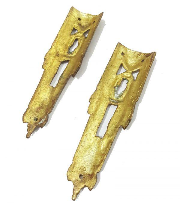 Bronze Möbelbeschlag 2er Set antik Empire feuervergoldet 13cm