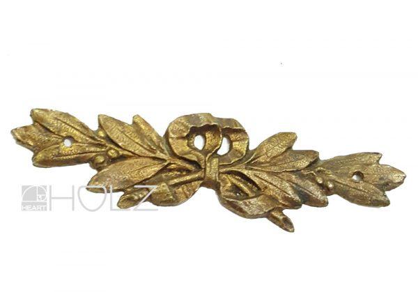 Möbelbeschlag antik Bronze feuervergoldet Lorbeer 10cm