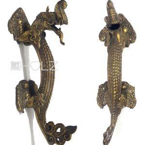 Bronze Stoßgriff antik Asiatika Drache Türgriff