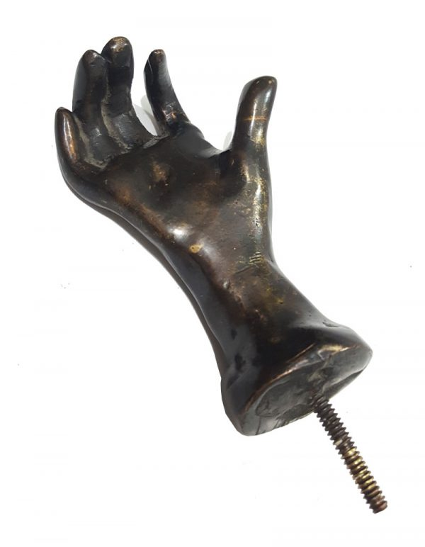 Bronze Türgriff Hand 370gr antik massiv alt