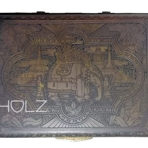 Indien Box Schatulle antik Tiger Buddha alt Messing